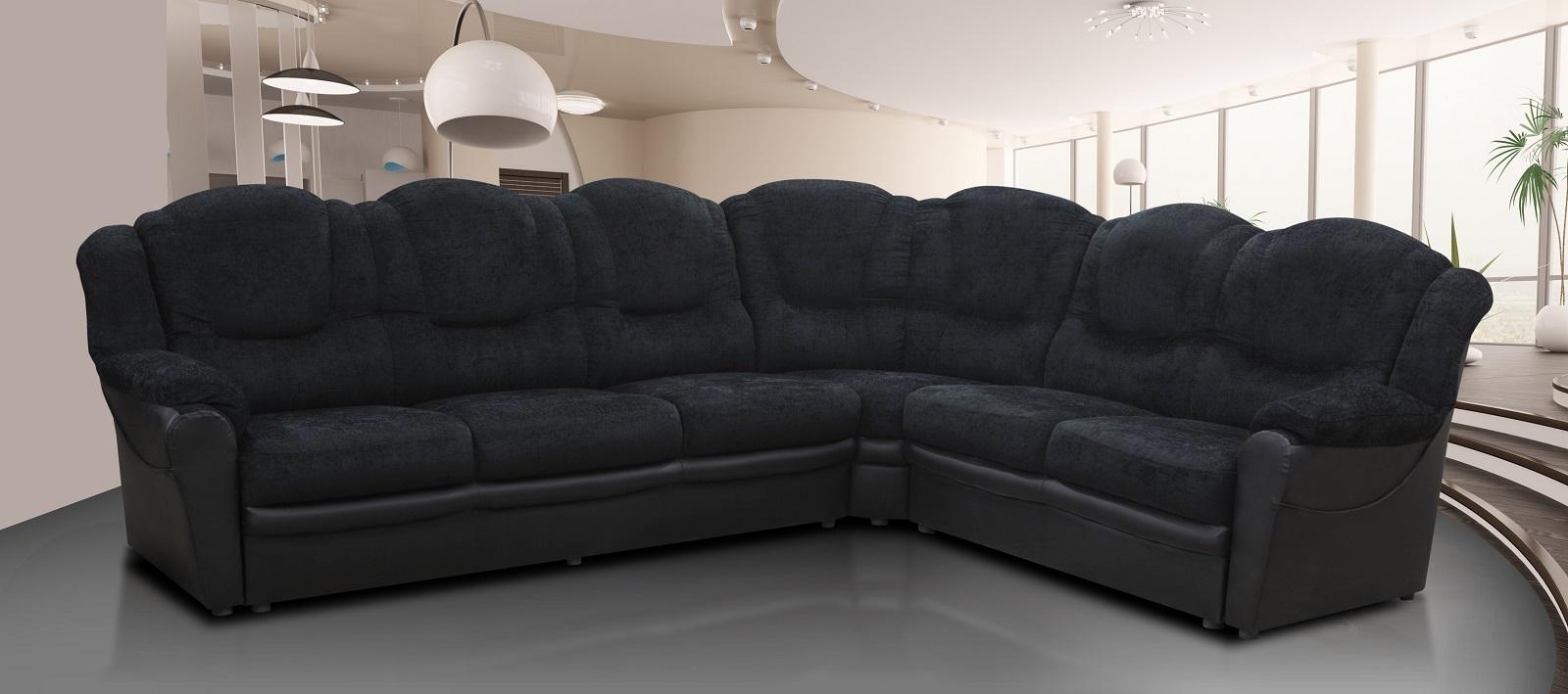 Texas Corner Sofa Black Fabric Amp Faux Leather