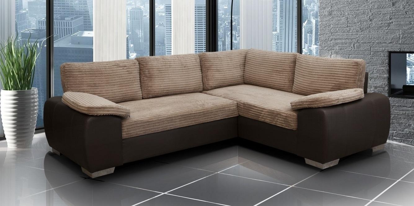 Enzo Corner Sofa Bed With Storage Brown Jumbo Fabric