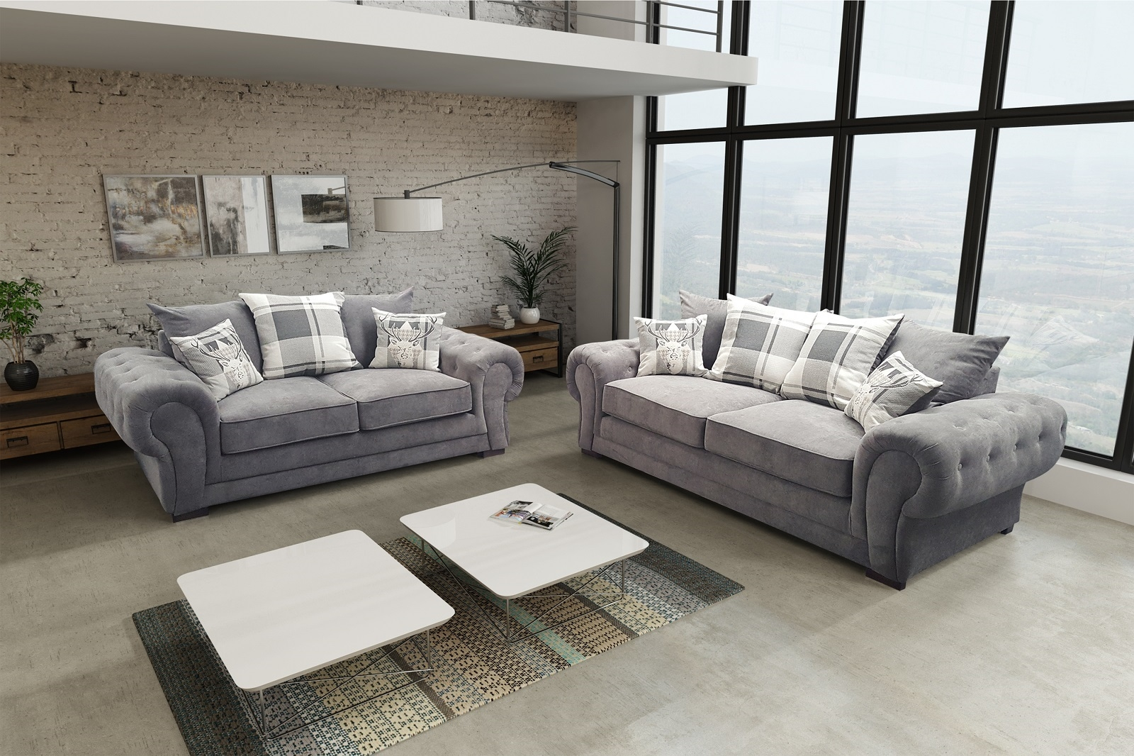 New Verona Sofa Set 3 2 Seater Fabric Dark Grey Ebay