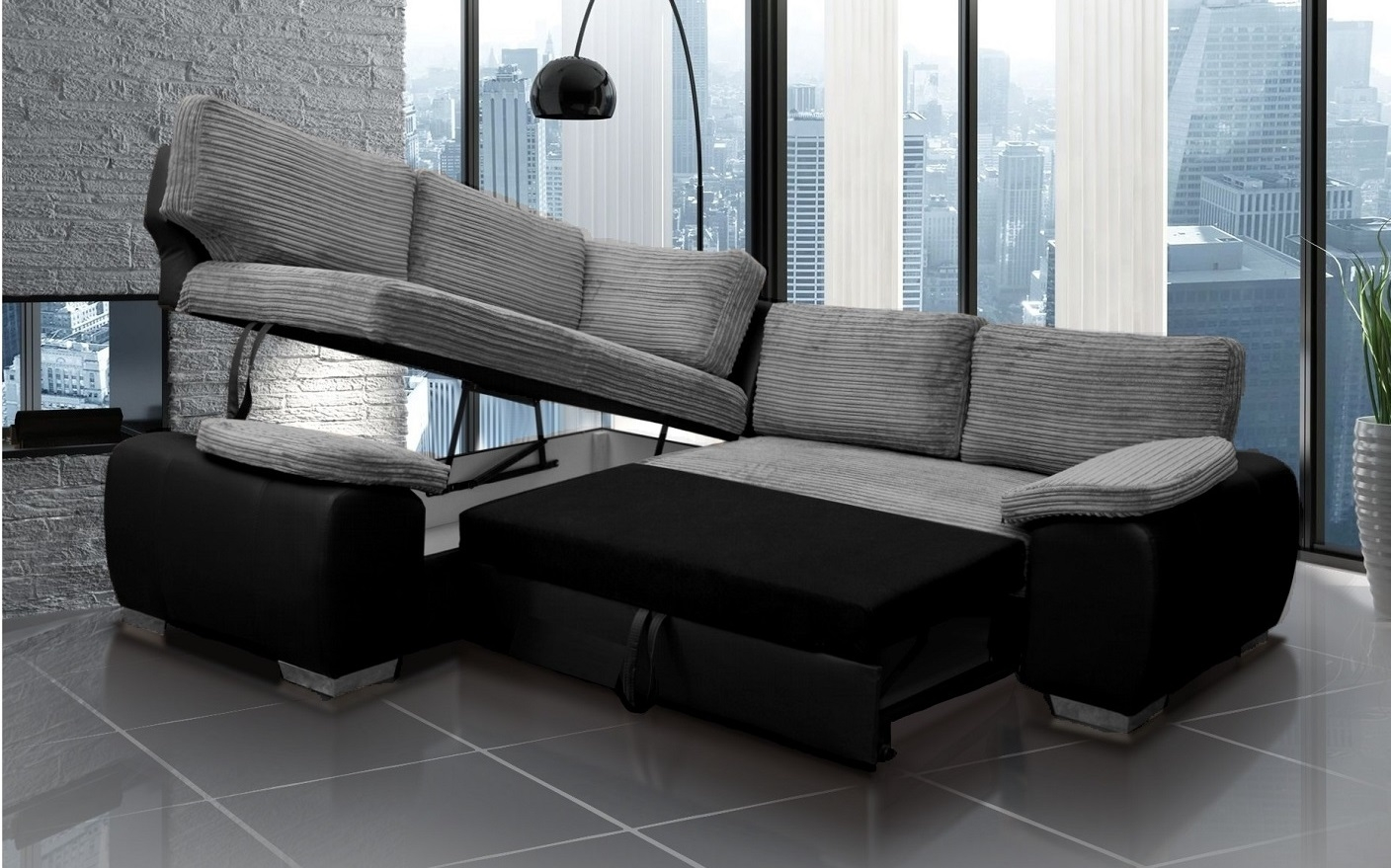 buy online ba0f2 79d60 Details about ENZO CORNER SOFA BED WITH STORAGE BLACK AND GREY JUMBO FABRIC  & FAUX LEATHER