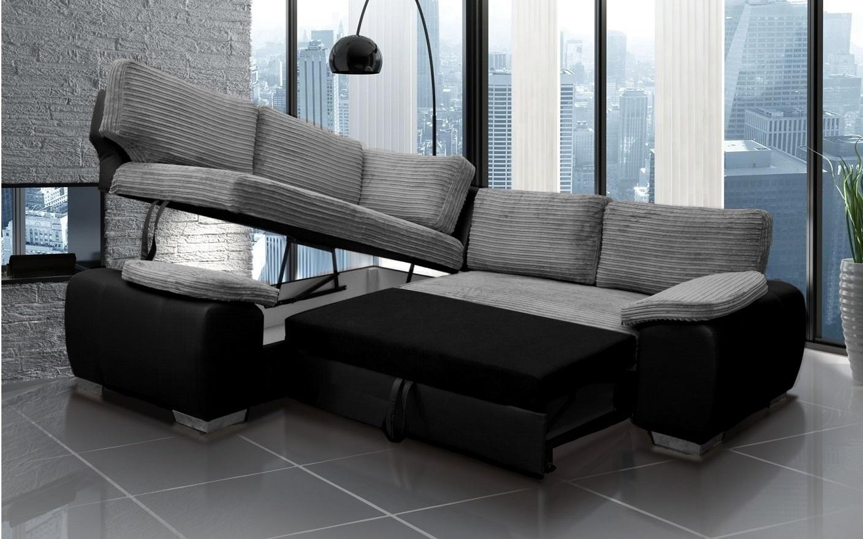 Enzo Corner Sofa Bed With Storage Black And Grey Jumbo