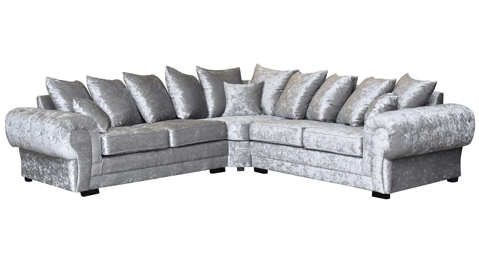 Chesterfield Style Verona Corner Sofa Crushed Velvet Silver Ebay