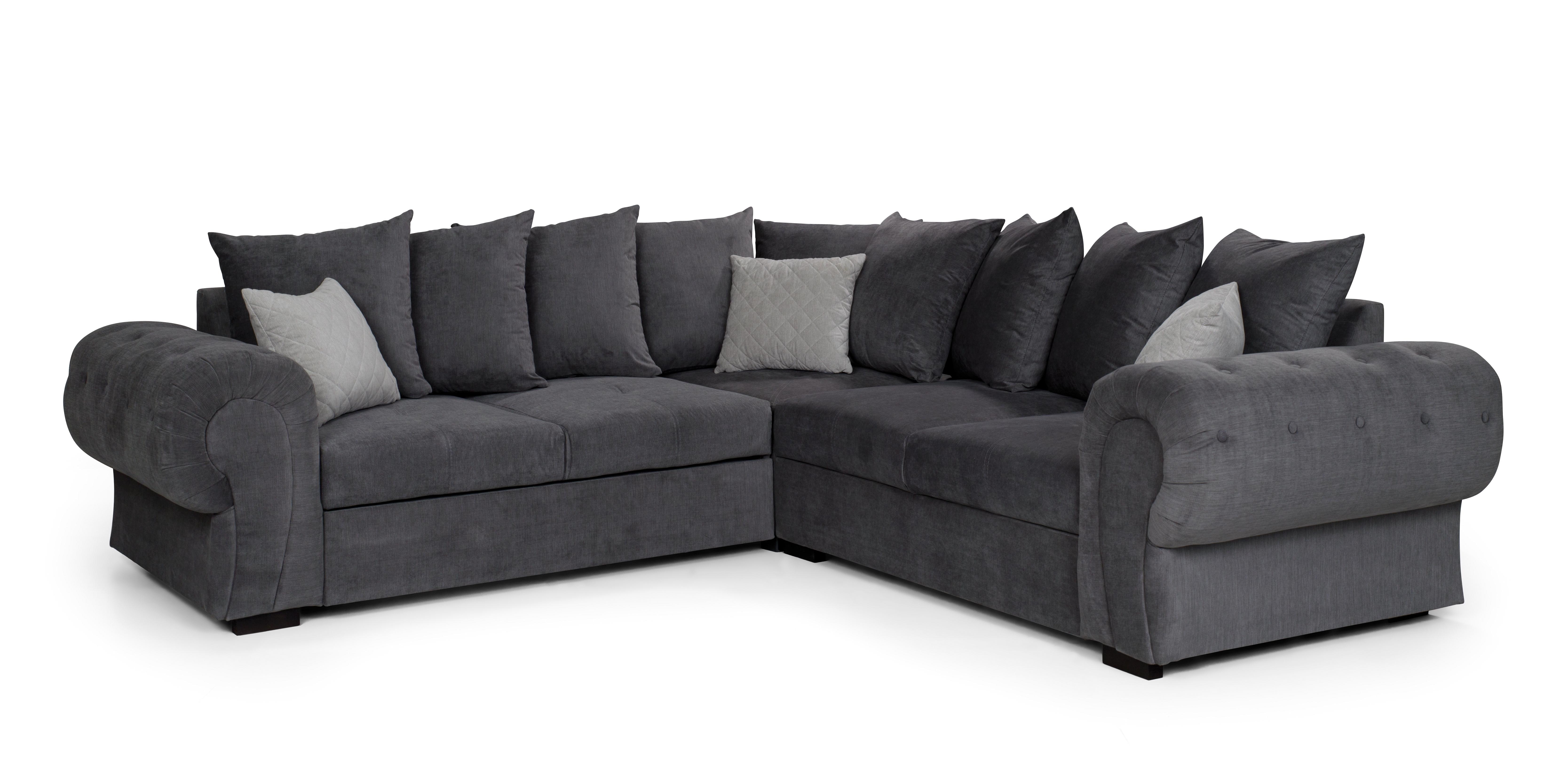 new product b4342 2fadd Details about NIKO, VERONA CORNER SOFA BED WITH STORAGE, DARK GREY - FABRIC  254 cm x 254 cm