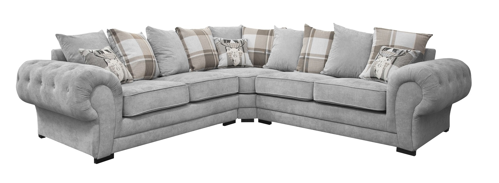 Details about BIG VERONA FABRIC CORNER SOFA LIGHT GREY (SILVER) - FABRIC  278 cm x 278 cm