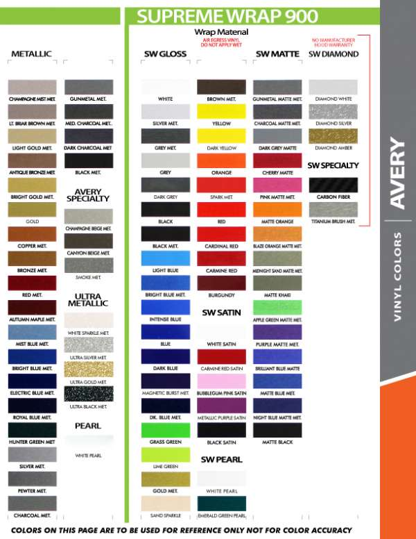 Avery Supreme Wrap Color Chart