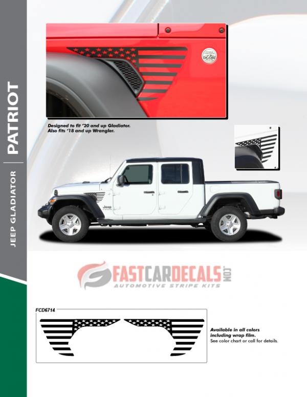 2018-2020 Jeep Gladiator / Wrangler Side Vent Stripes