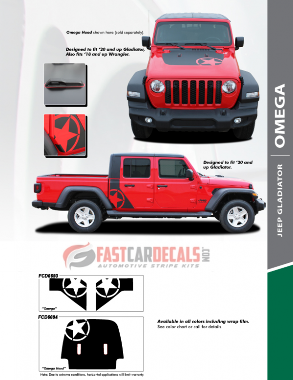 OMEGA : Jeep Gladiator Hood & Side Stripes