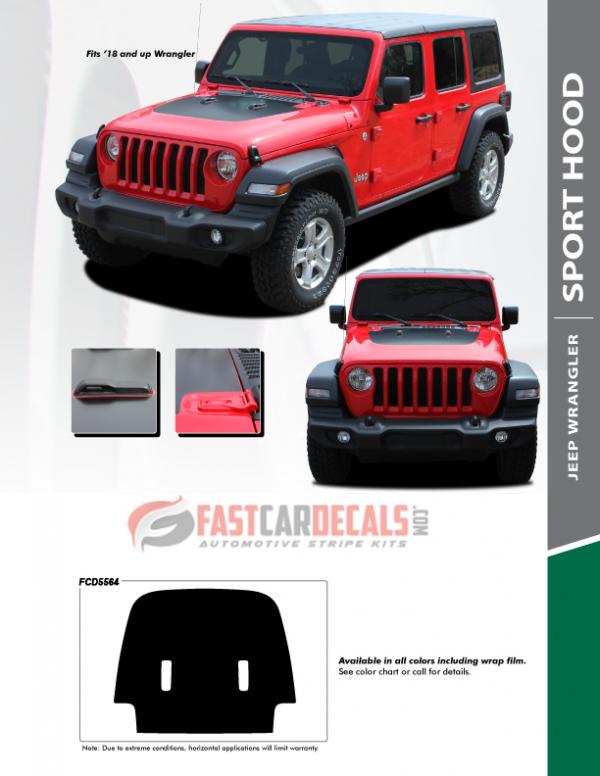 2019 Jeep Wrangler Hood Stripe SPORT HOOD JL 2018 2019 2020 2021
