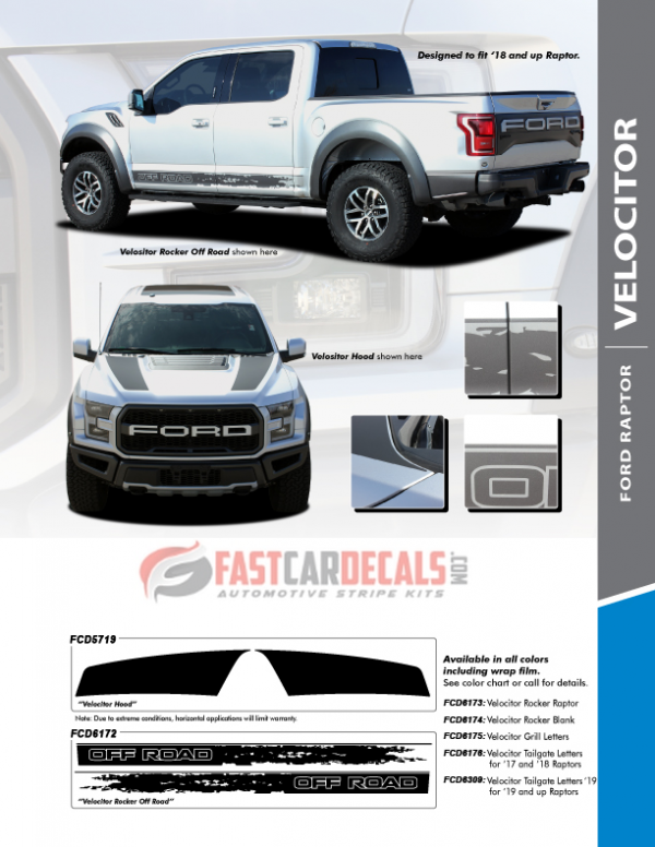 VELOCITOR : 2018-2020 Ford F150 Raptor Stripes