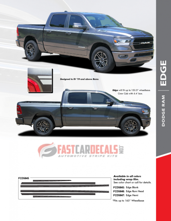 2019-2020 Ram 1500 EDGE Side Stripes