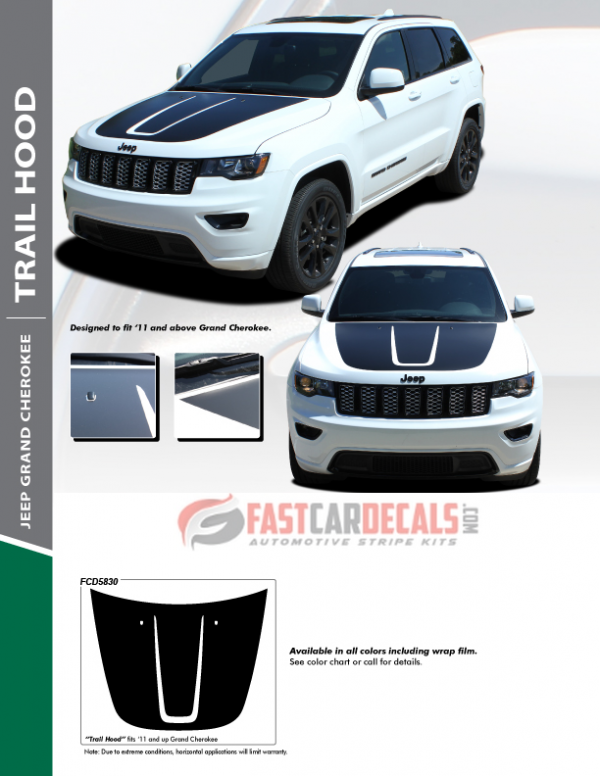 2011-2020 Jeep Grand Cherokee TRAIL Hood Stripes