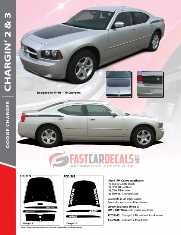 2006-2010 Dodge Charger CHARGIN 2 & 3 Stripe Package