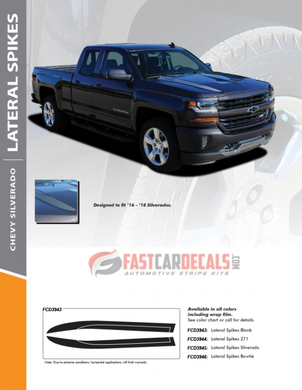 2016 2017 2018 Chevy Silverado Hood Decals LATERAL SPIKES