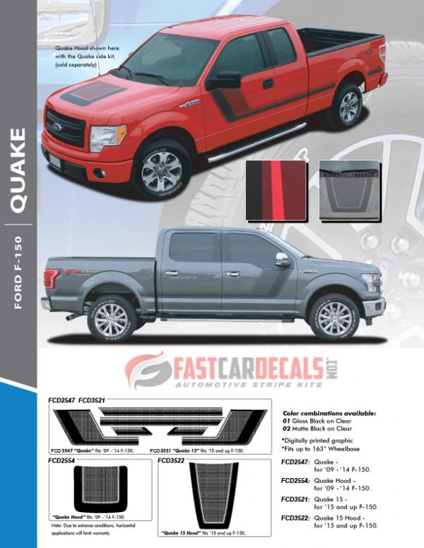 2009-2020 Ford F150 QUAKE Hood & Side Stripes
