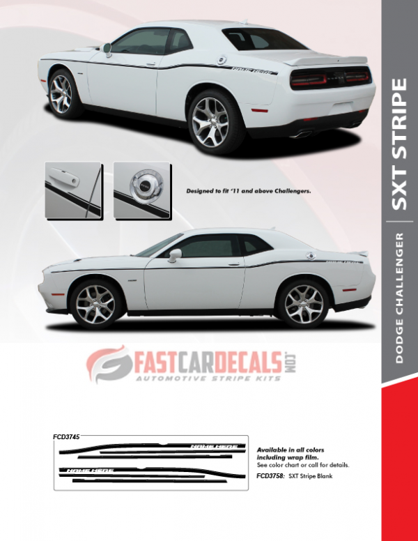 2020 Dodge Challenger Side Body Line Stripes SXT SIDE KIT 2011-2021