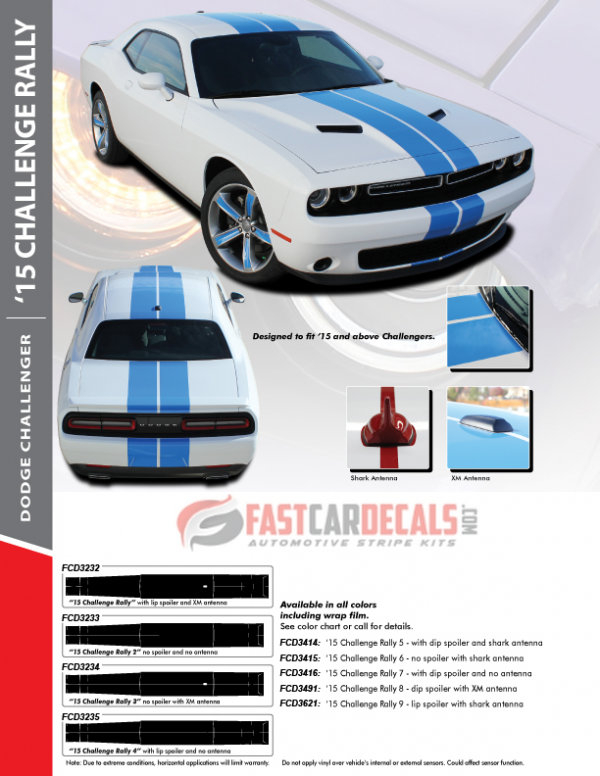 2015-2020 Dodge Challenger CHALLENGE RALLY Stripes