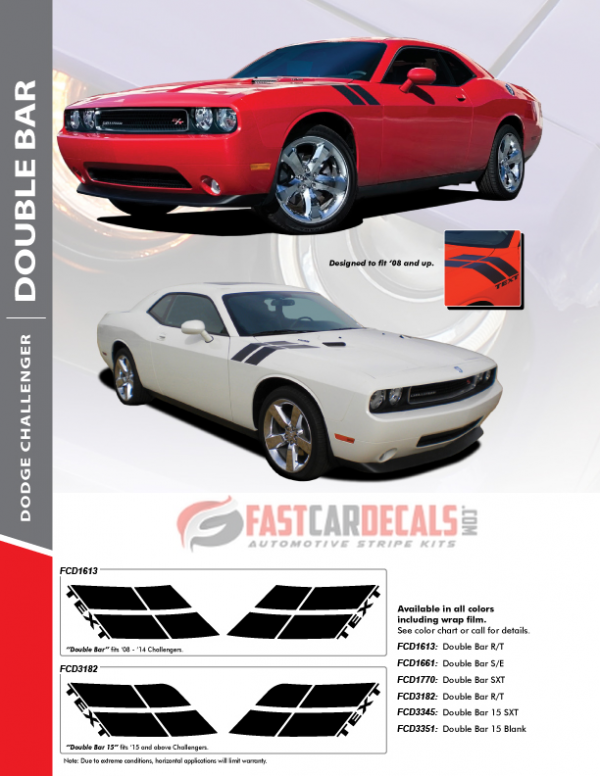 Challenger Hash Stripes Decal DOUBLE BAR 2008-2018 2019 2020 2021