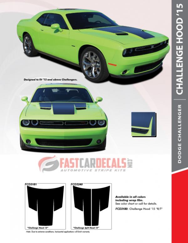 2015-2020 Dodge Challenger HOOD 15 Stripes