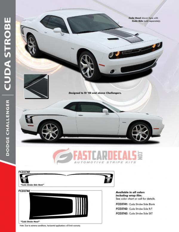 FAST! Dodge Challenger Hood Stripes CUDA STROBE 2008-2021