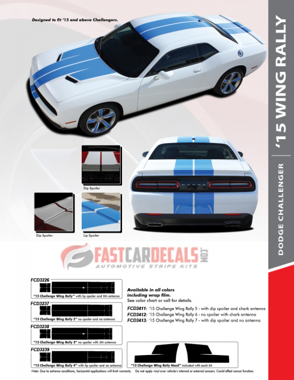 2015-2020 Dodge Challenger 15 WING RALLY Stripes