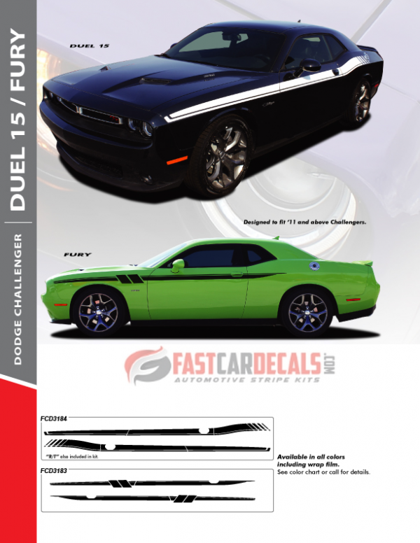 2011-2020 Dodge Challenger DUEL 15 & FURY Side Stripe Kits