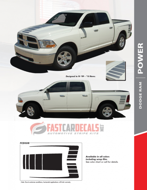 Factory style POWER WAGON Dodge Ram 1500 Stripes 2009-2018