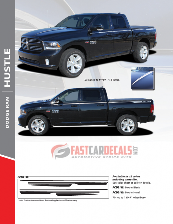 2009-2018 Dodge Ram 1500 HUSTLE Stripes