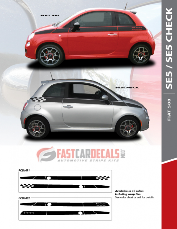 2010-2019 Fiat 500 SE5 CHECK Stribes