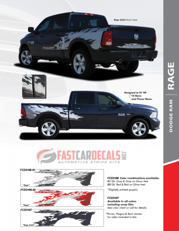 2009-2018 Dodge Ram 1500 RAGE Stripe Graphics
