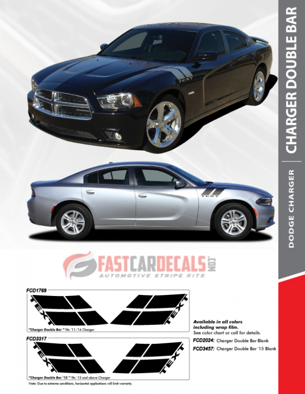 2011-2020 Dodge Charger DOUBLE BAR Stripes