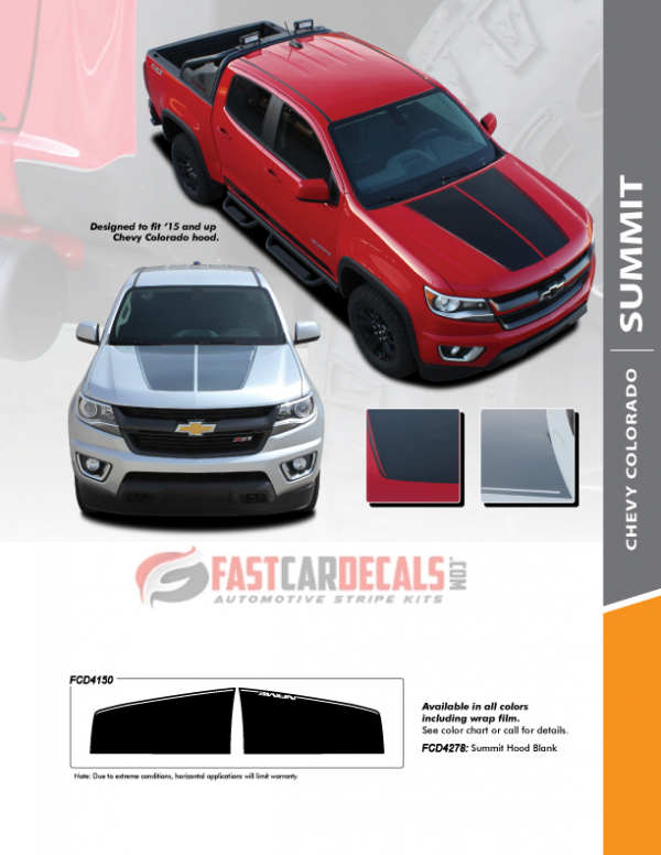 2018 Chevy Colorado Hood Stripes SUMMIT HOOD 2015-2019 2020 2021