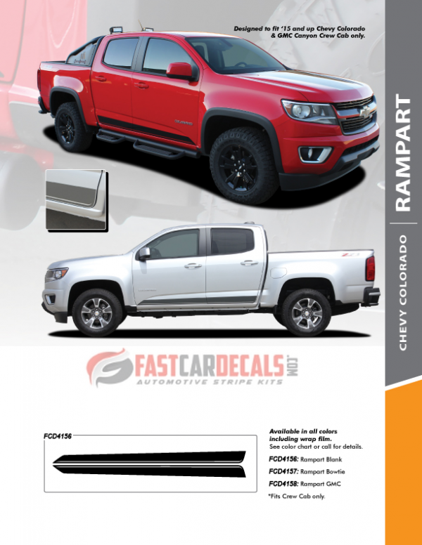 2015-2020 Chevy Colorado RAMPART Rocker Stripes