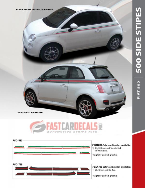 Fiat 500 Italian Side Stripes & GUCCI Stripe Kits