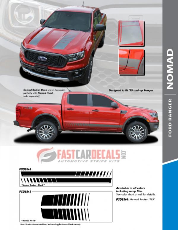 2019-2020 Ford Ranger NOMAD Hood & Side Stripes