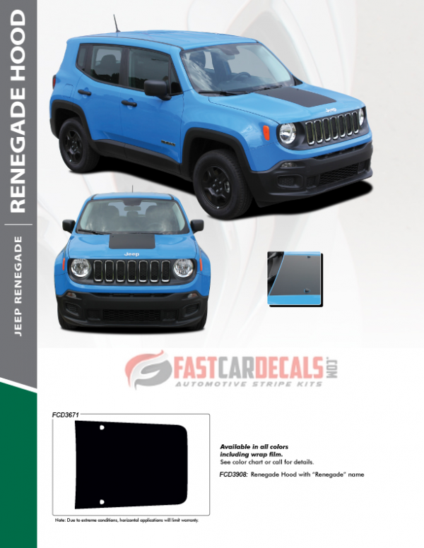 2014-2021 Jeep Renegade Hood Stripes RENEGADE HOOD