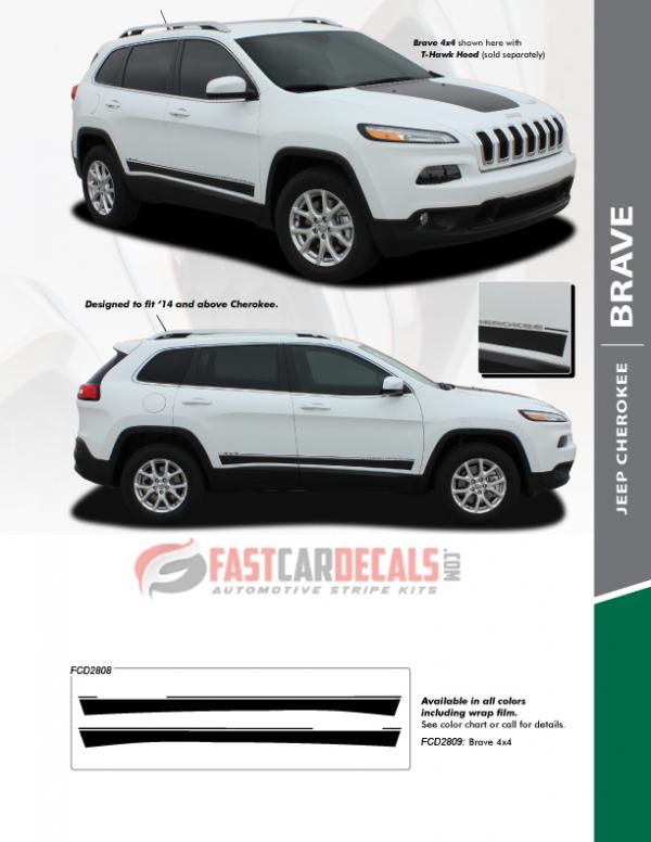 2019 Jeep Cherokee Lower Rocker Stripes BRAVE 2014-2020 2021