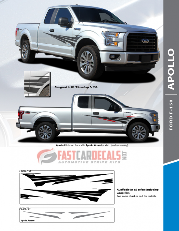 2019 Ford F150 Side Graphics Package APOLLO 2015-2019 2020 2021