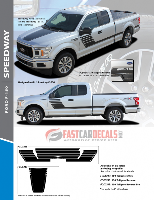 2018 Ford F150 Hood Stripe Decal SPEEDWAY HOOD 2015-2019 2020