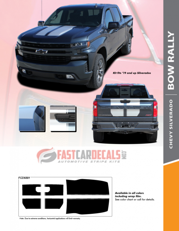 2019-2020 Chevy Silverado BOW RALLY Stripes