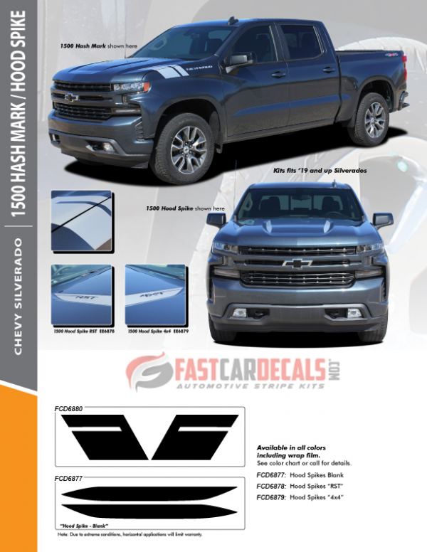 2019-2020 Chevy Silverado 1500 Hash & Hood Stripes