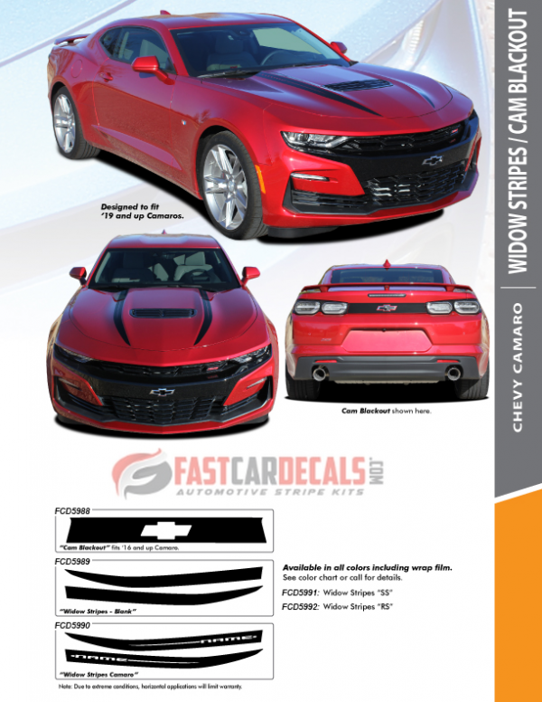 2019-2020 Chevy Camaro Hood & Rear Stripes