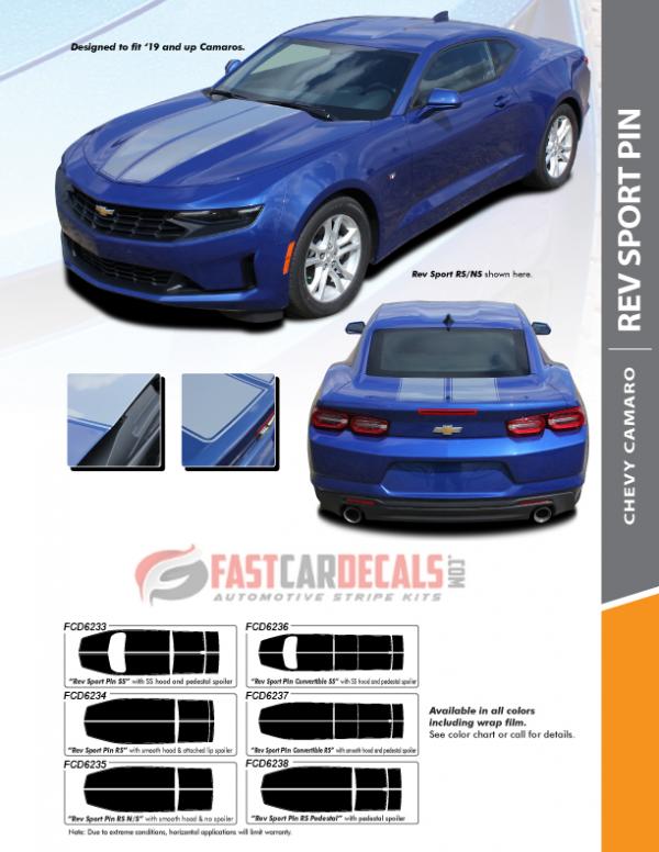 2019 2020 Camaro Racing Stripes REV SPORT PIN : Chevy Camaro Hood Decals with Pin Stripe Outline Vinyl Graphics