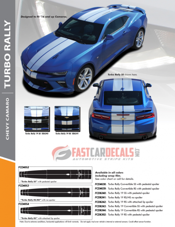 2019 Chevy Camaro Racing Stripes TURBO RALLY 19 2019-2020 SS or RS models