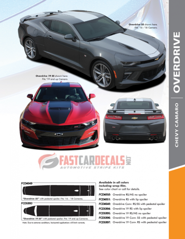 2018 Chevy Camaro Center Stripe OVERDRIVE 2016-2020 Factory Style