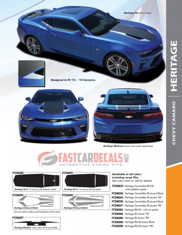2016-2018 Chevy Camaro HERITAGE Stripes