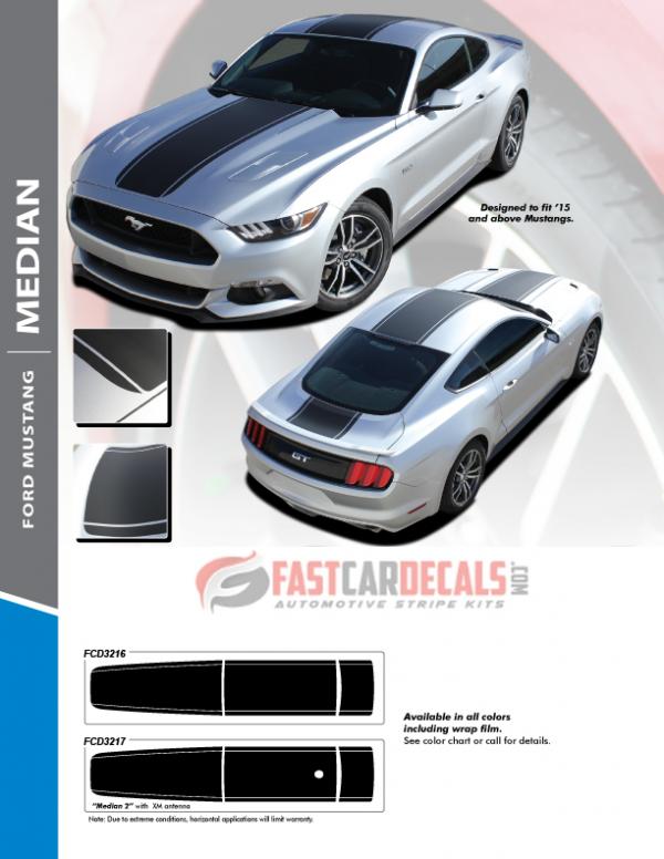 2015-2018 Ford Mustang MEDIAN Stripes