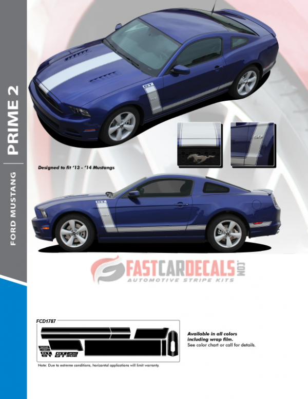 Center Hood and Side Stripes for Mustang PRIME 2 2013-2014 Premium Products!