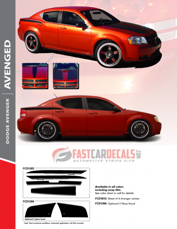 Dodge Avenger AVENGED Stripe Kits