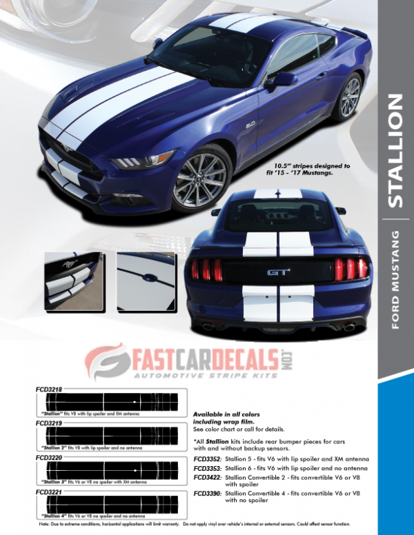 2016 Ford Mustang Racing Stripes STALLION 2015 2016 2017