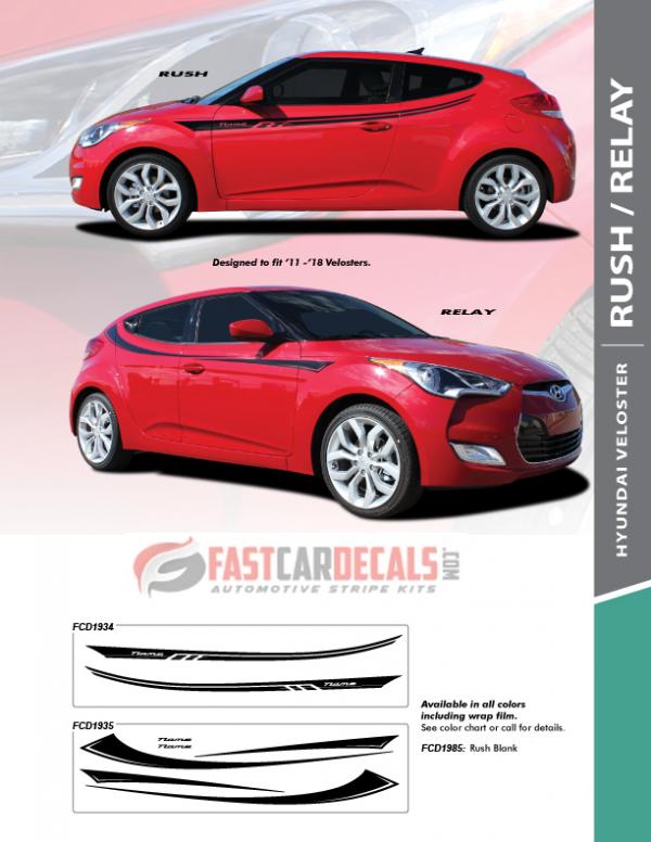 2011-2018 Hyundai Veloster RUSH & RELAY Stripes
